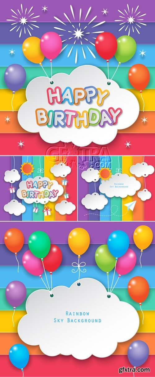 Colorful Birthday Postcards Vector