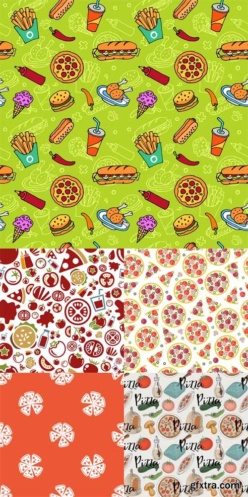 5 Pizza Patterns Vector Set