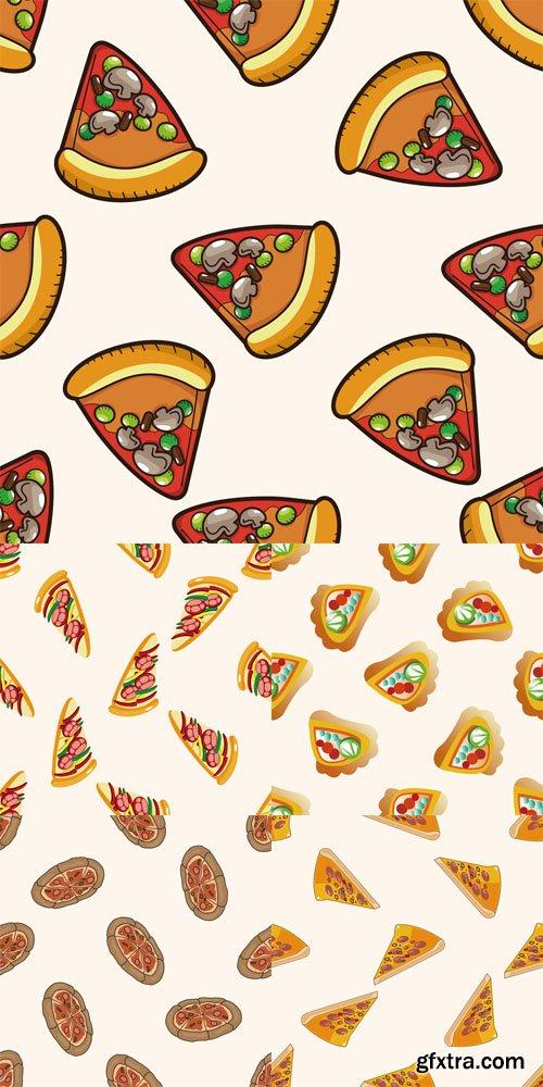 5 Pizza Patterns Vector Set 2
