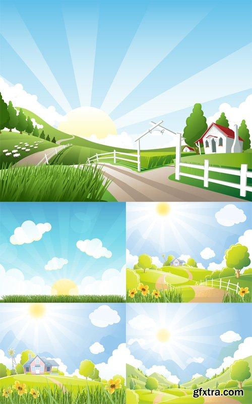 5 Farm Illustrations Vector Set