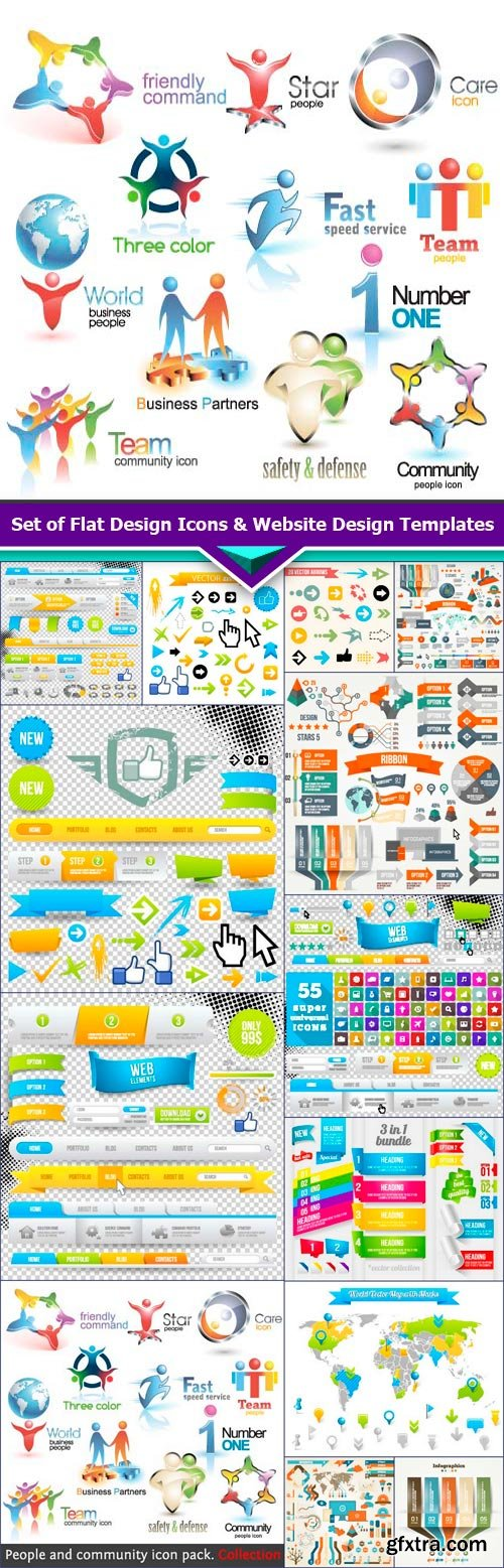 Set of Flat Design Icons & Website Design Templates 13X EPS