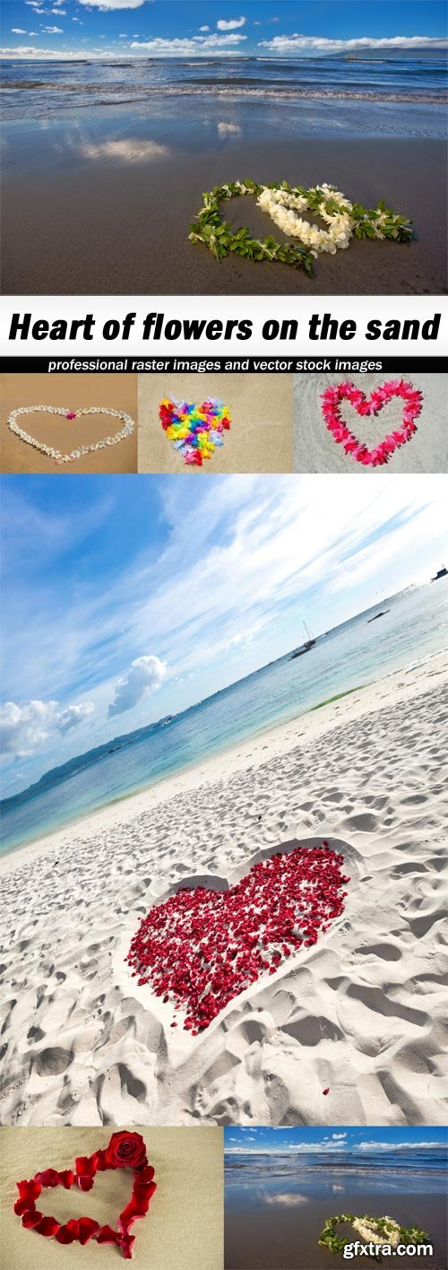 Heart of flowers on the sand