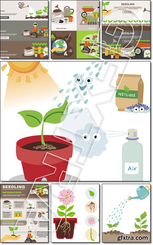 Seedling infographics set with gardening elements and equipment illustration - Vector
