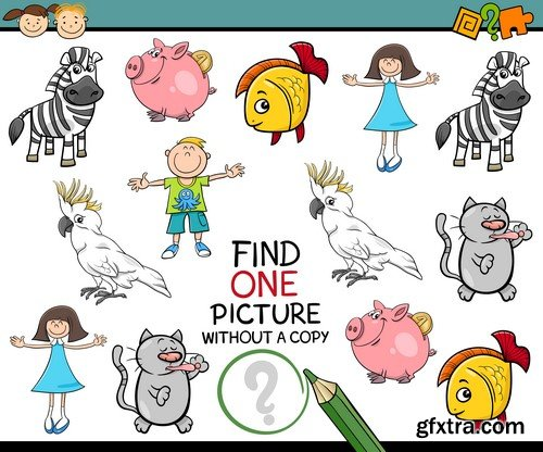 Educational game Cartoon pictures for children 5x JPEG