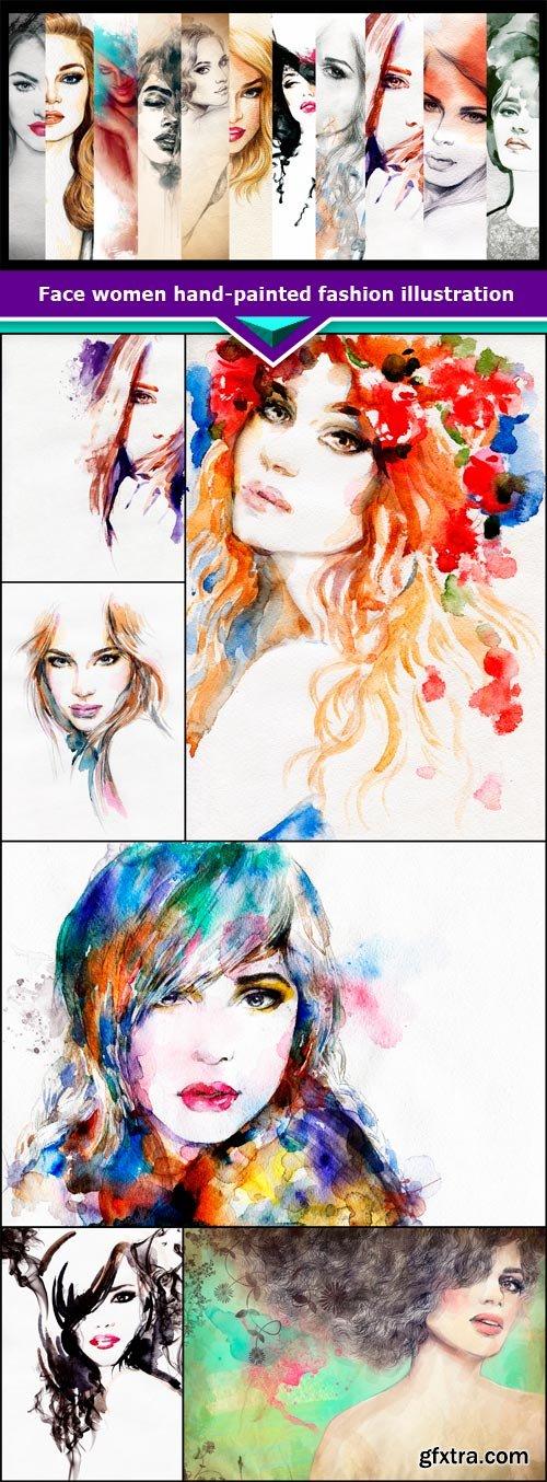 Face women hand-painted fashion illustration 7x JPEG