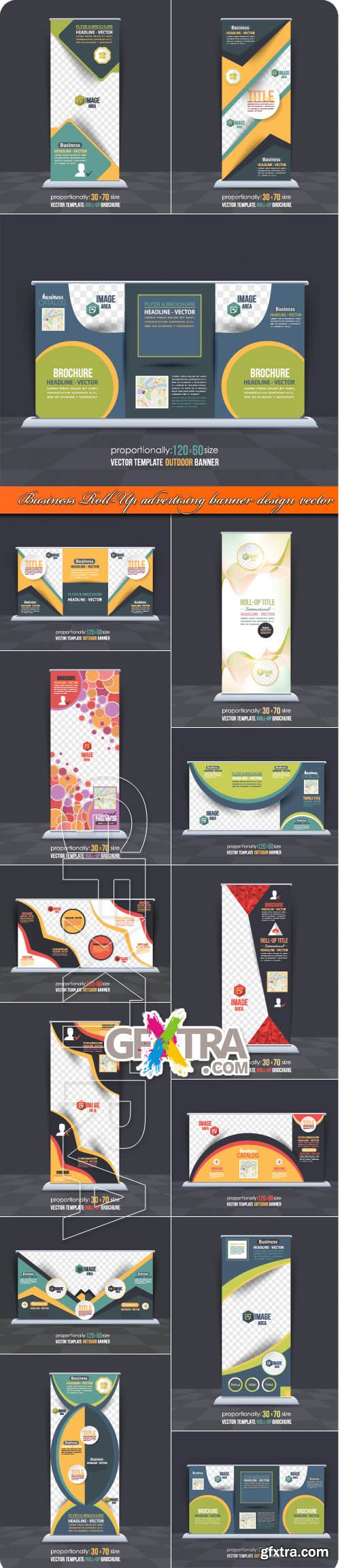 Business Roll-Up advertising banner design vector