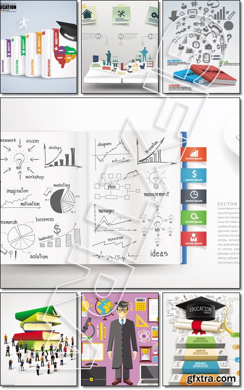 Education business infographic concept - Vector