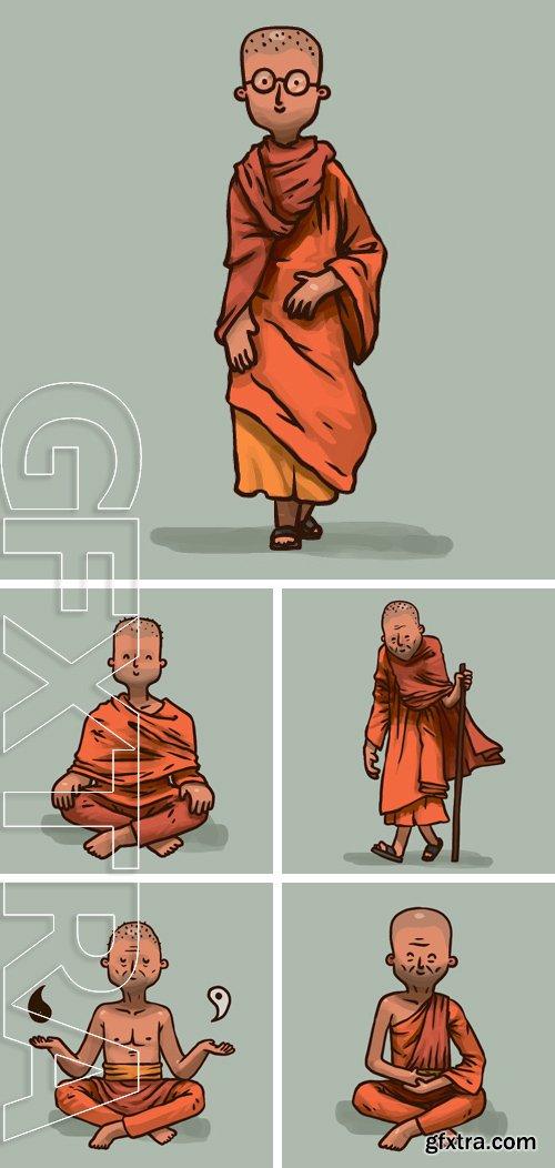 Stock Vectors - Buddhist Old Monk, vector