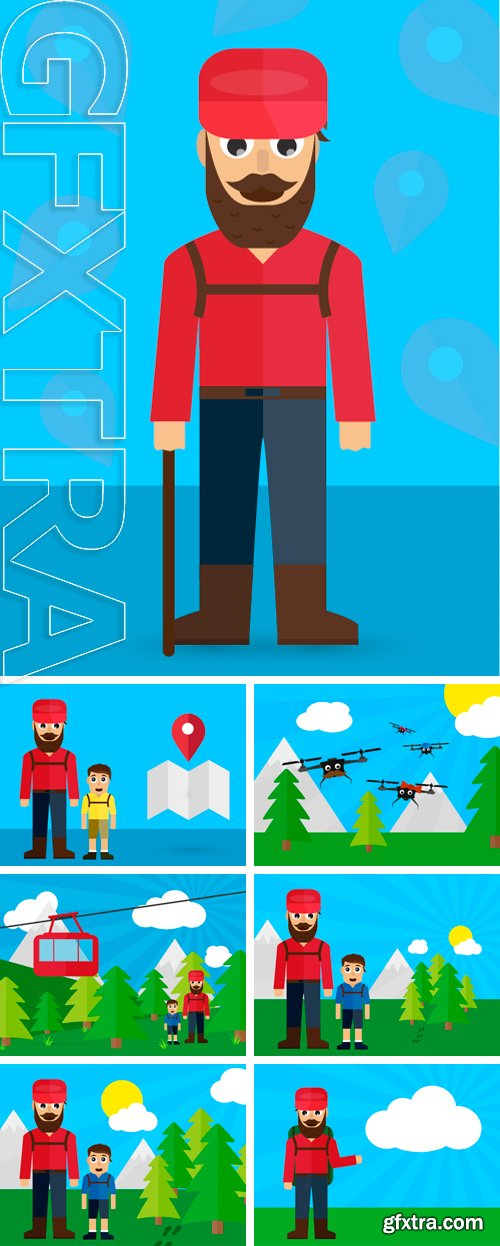 Stock Vectors - Cableway with dad and son on the trip vector flat illustration