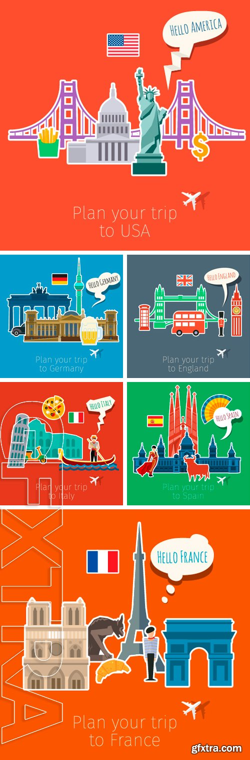 Stock Vectors - Concept of travel or studying . Flag with landmarks. Flat design, vector illustration