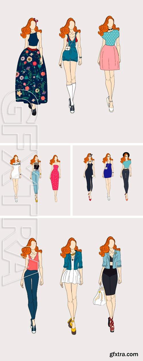 Stock Vectors - Hand drawn fashion models