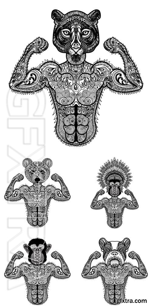 Stock Vectors - Hand Drawn sport vector illustration isolated on white background. Vintage sketch for tattoo design or makhenda. Animal art collection