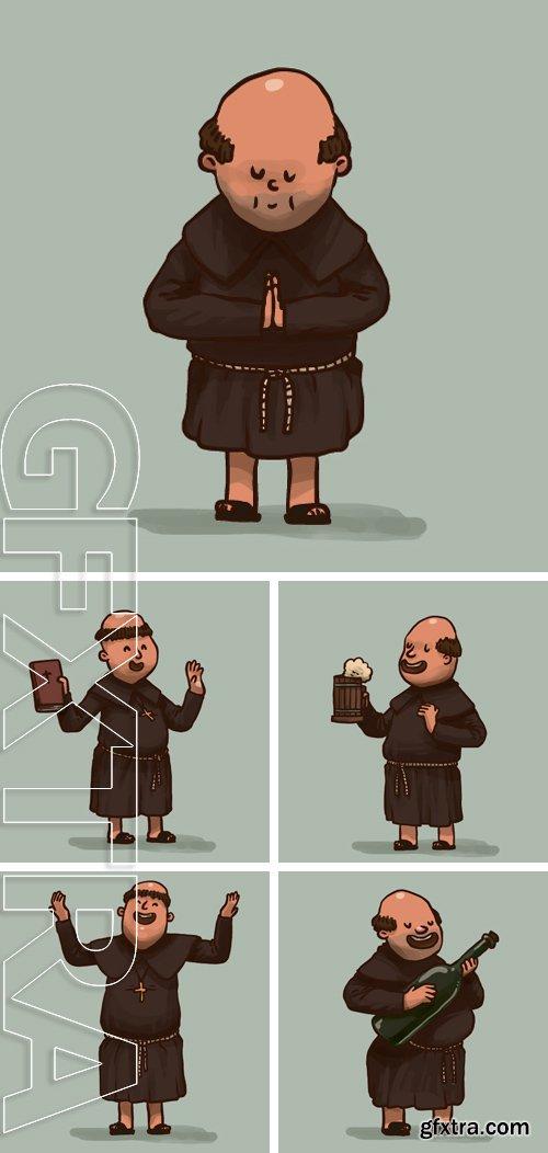 Stock Vectors - Monk is praying, vector