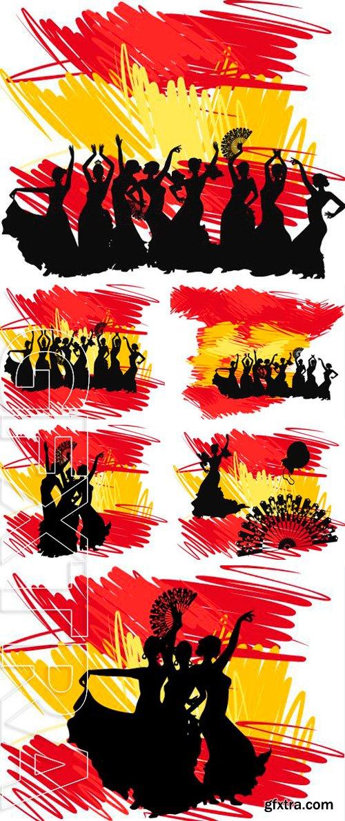 Stock Vectors - Silhouette flamenco dancer over Spanish Flag Background