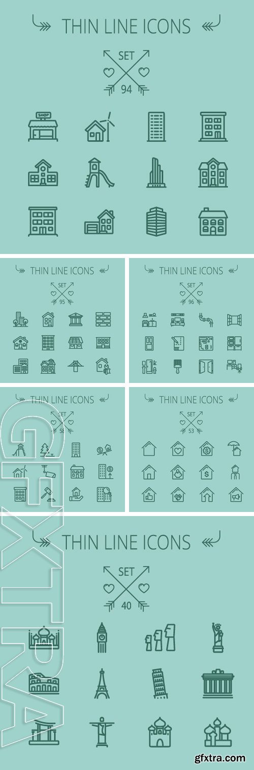 Stock Vectors - Thin line icon set for web and mobile. Modern minimalistic flat design
