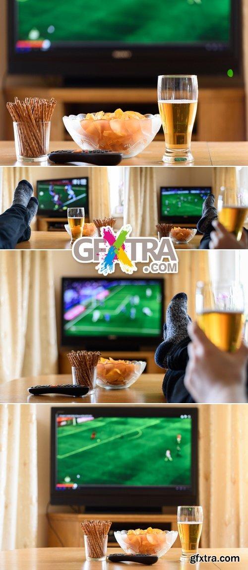 Stock Photo - Football on TV