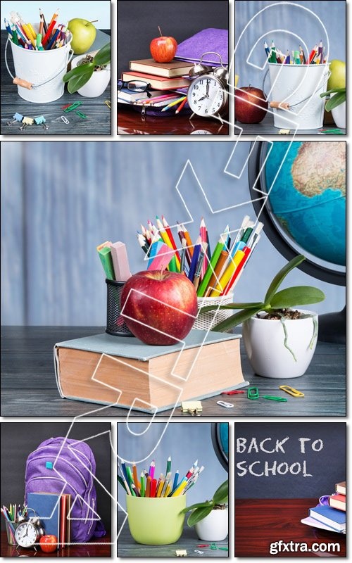 Group of school supplies, back to school concept - Stock photo