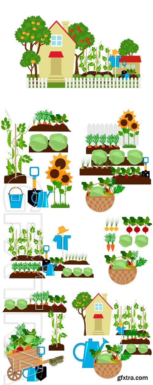 Stock Vectors - Small house among the apple trees, vegetables in the beds, scarecrow and garden tools