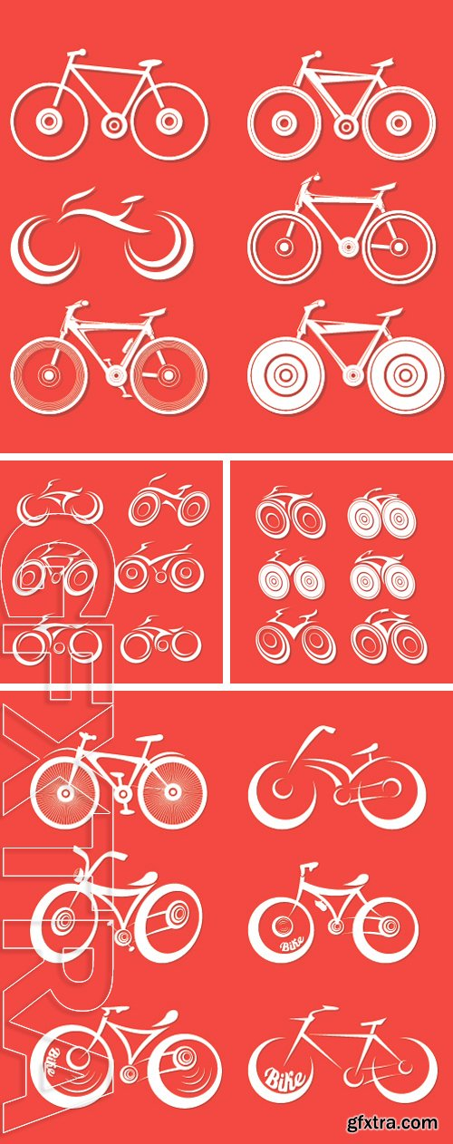 Stock Vectors - Vector bicycle silhouette collection, vector bike icon or logo set