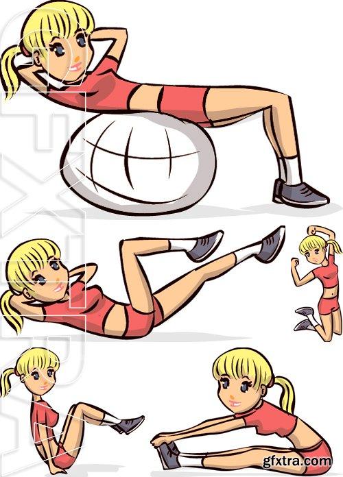 Stock Vectors - Young fitness woman. Hand drawn cartoon vector illustration