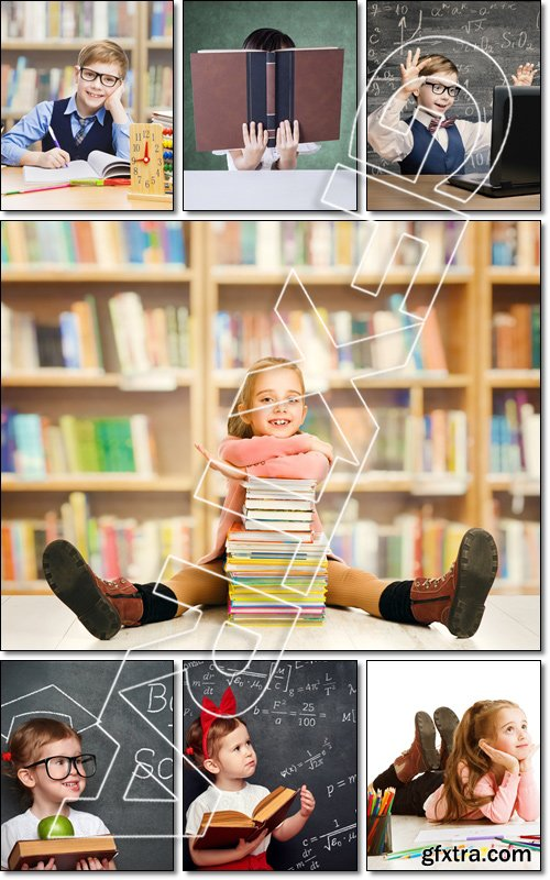 School Kid Thinking, Education Inspiration Concept, Dreaming Inspiring Child - Stock photo