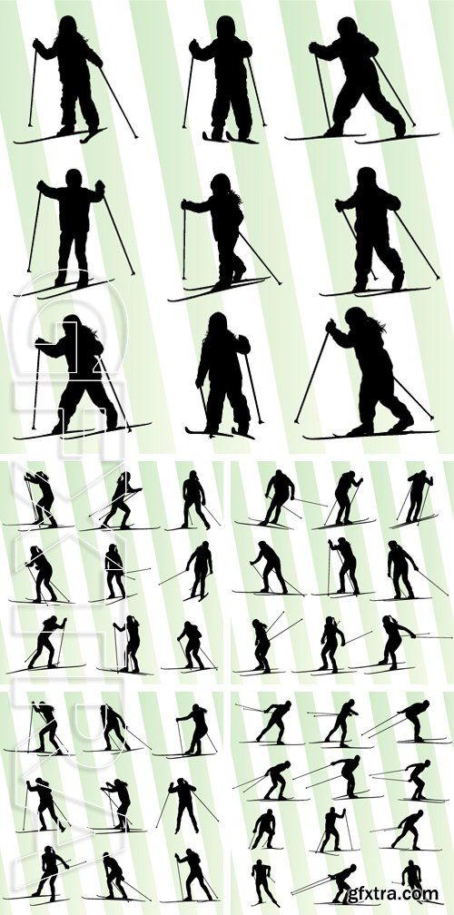 Stock Vectors - Active young skiing set sport silhouette vector background concept