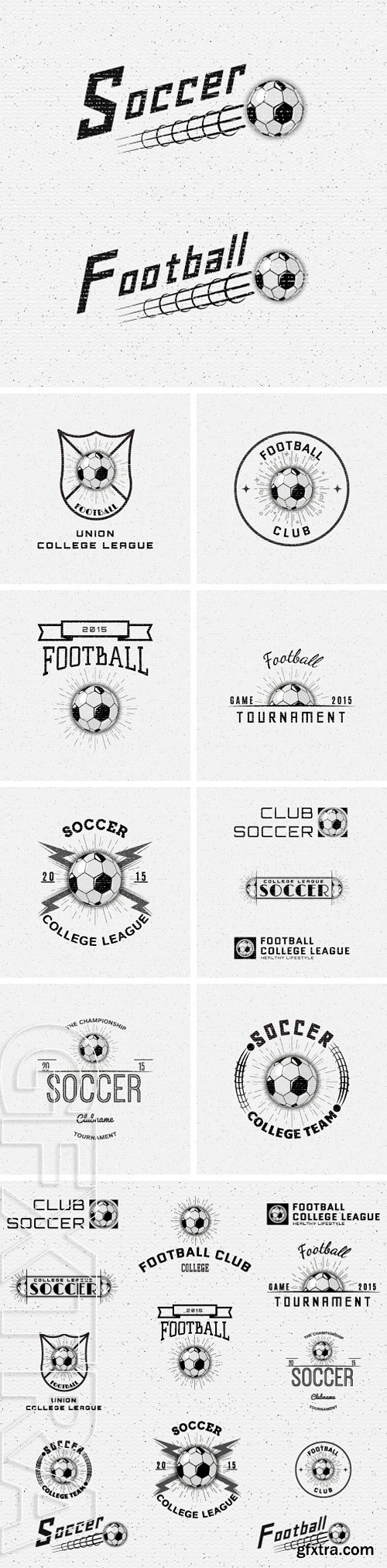 Stock Vectors - Soccer badges logos and labels can be used for design, presentations, brochures, flyers, sports equipment, corporate identity, sales