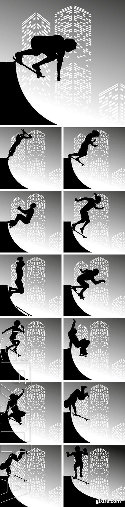 Stock Vectors - Vector silhouette skateboarder on grey skyscraper background