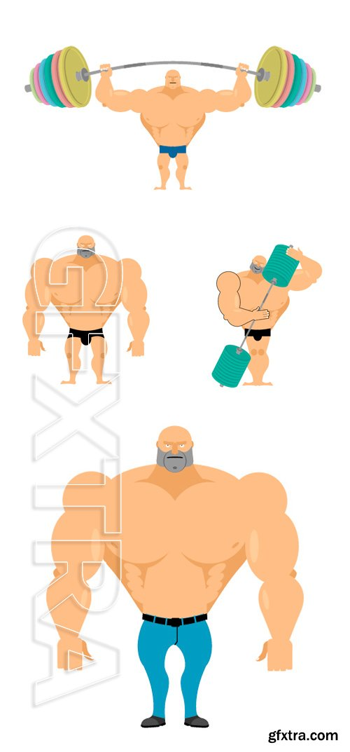 Stock Vectors -Bodybuilder. Strong big man. Athlete with big muscles. Vector illustration man fitness model