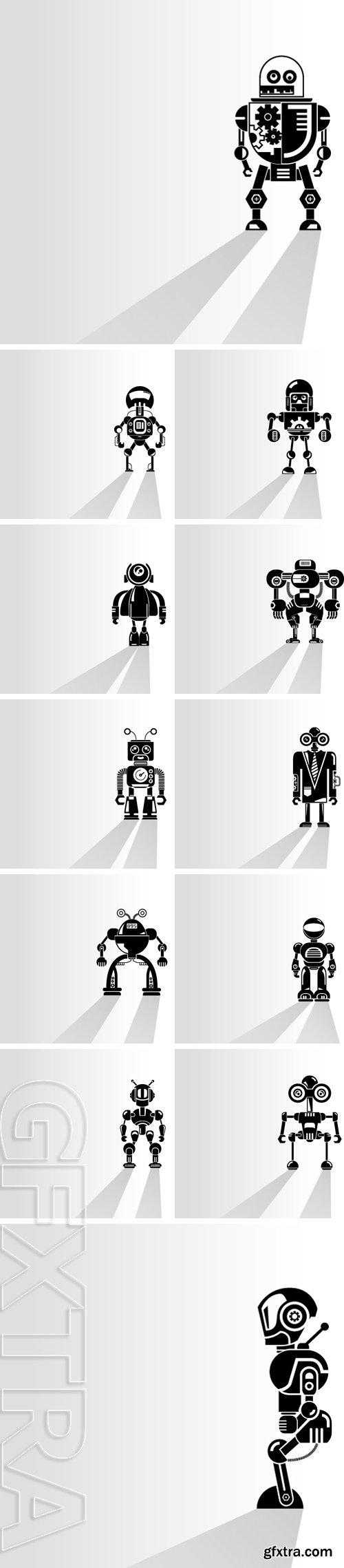 Stock Vectors -Cyborg, robot on white background, vector