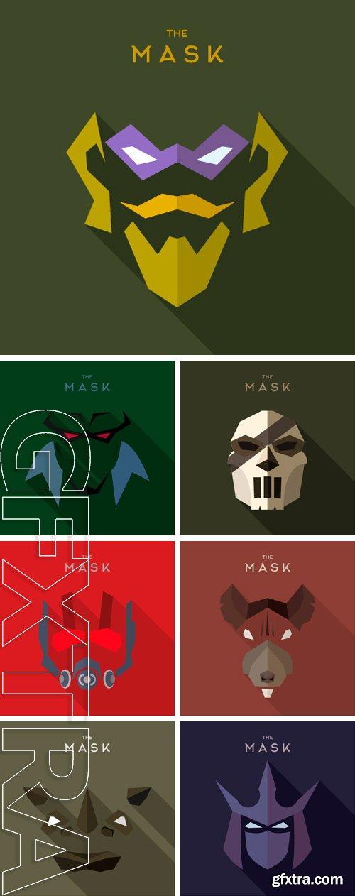 Stock Vectors - Mask Hero superhero flat style icon vector logo, illustrations, villain
