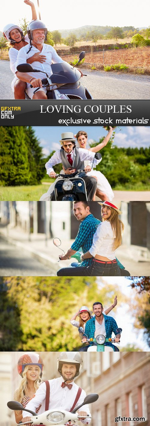 Loving couples on motorcycles