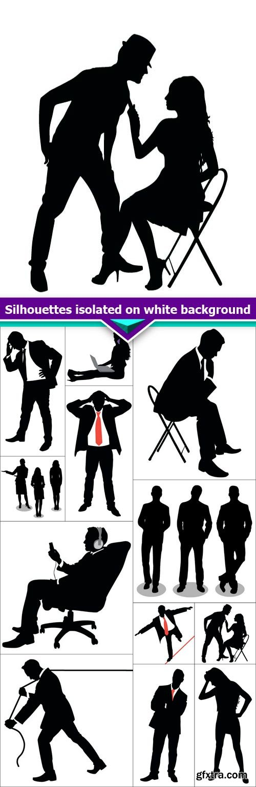 Silhouettes isolated on white background 12X EPS