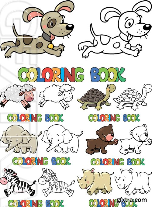 Stock Vectors - Coloring book or coloring picture of little funny