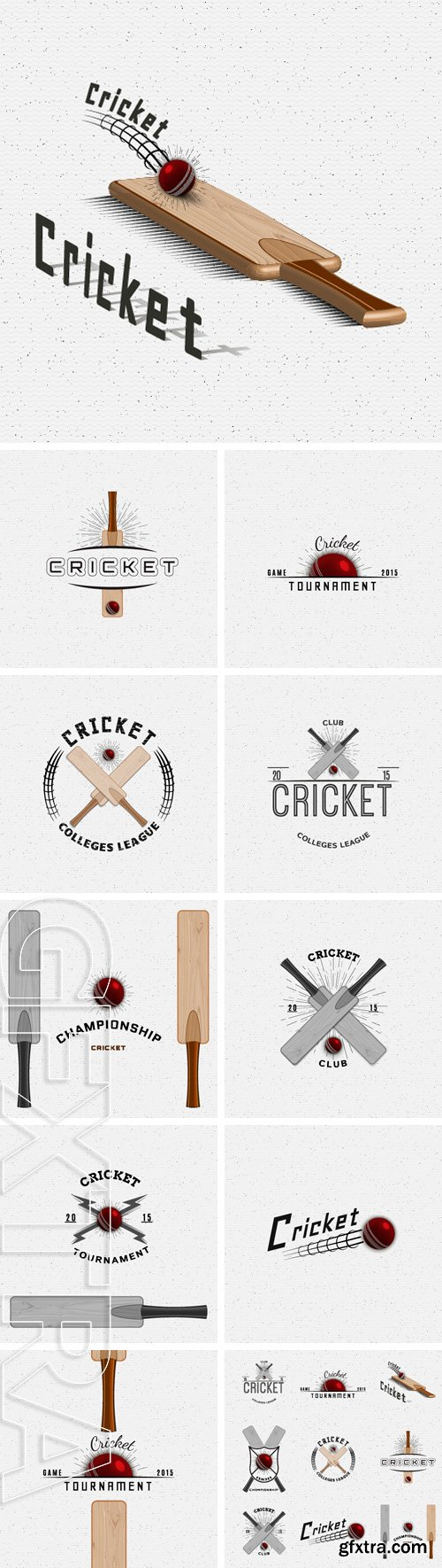 Stock Vectors - Cricket badges logos and labels can be used for design, presentations, brochures, flyers, sports equipment, corporate identity, sales