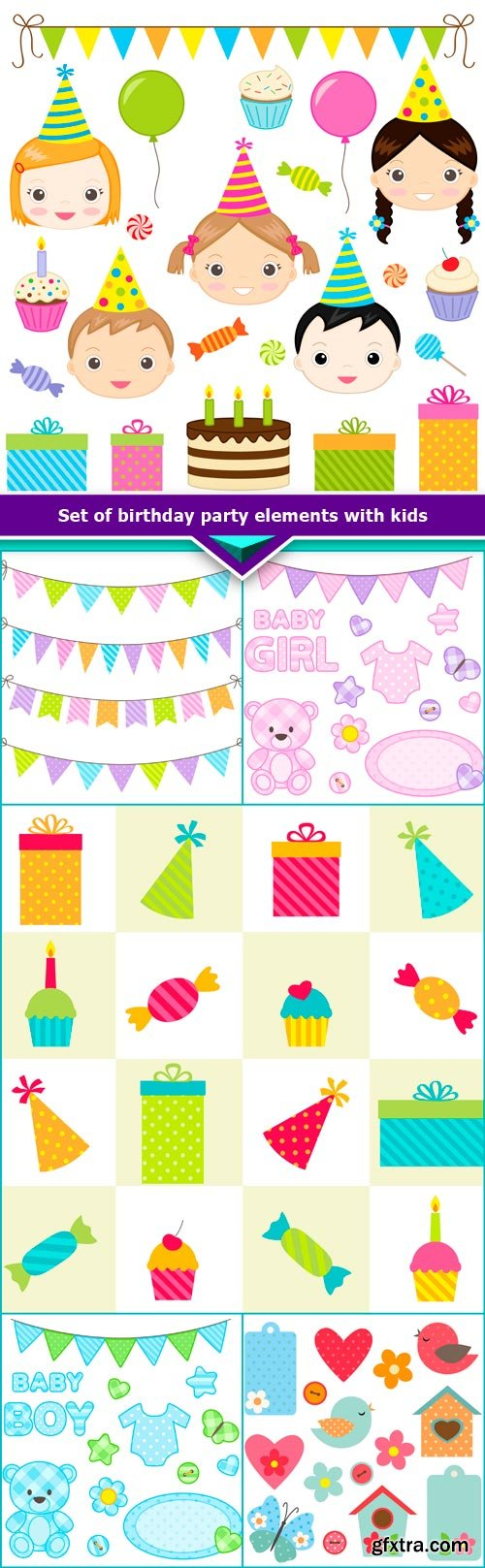 Set of birthday party elements with kids 6x JPEG