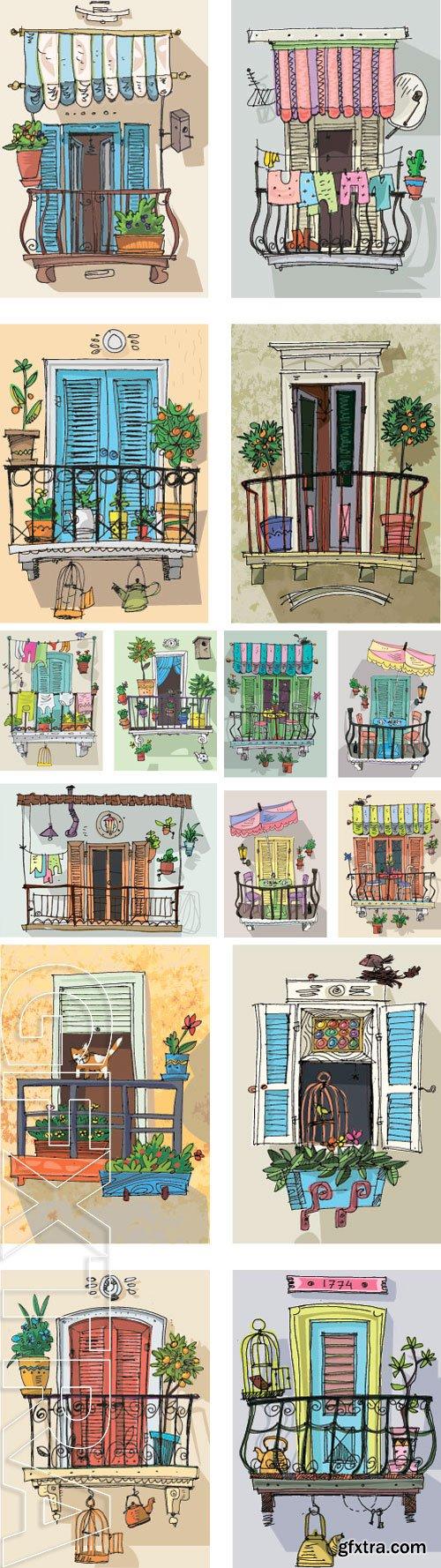 Stock Vectors - Set of cute balconies - cartoon