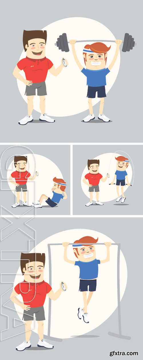 Stock Vectors - Vector illustration Fitness personal trainer and funny sportsman