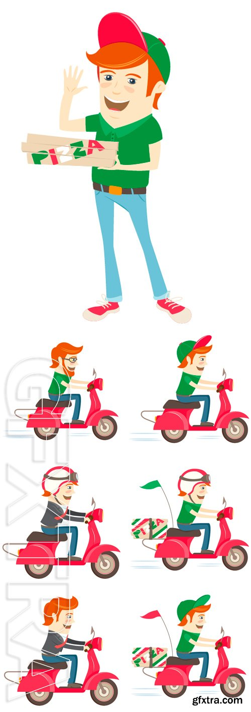 Stock Vectors - Vector illustration Funny hipster, red scooter