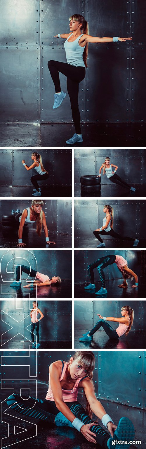 Stock Photos - Sporty athlete woman doing push ups on tire strength power training concept cross fit fitness workout sport and lifestyle