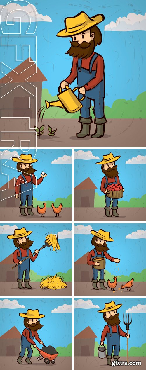 Stock Vectors - A farmer with a beard and mustache.