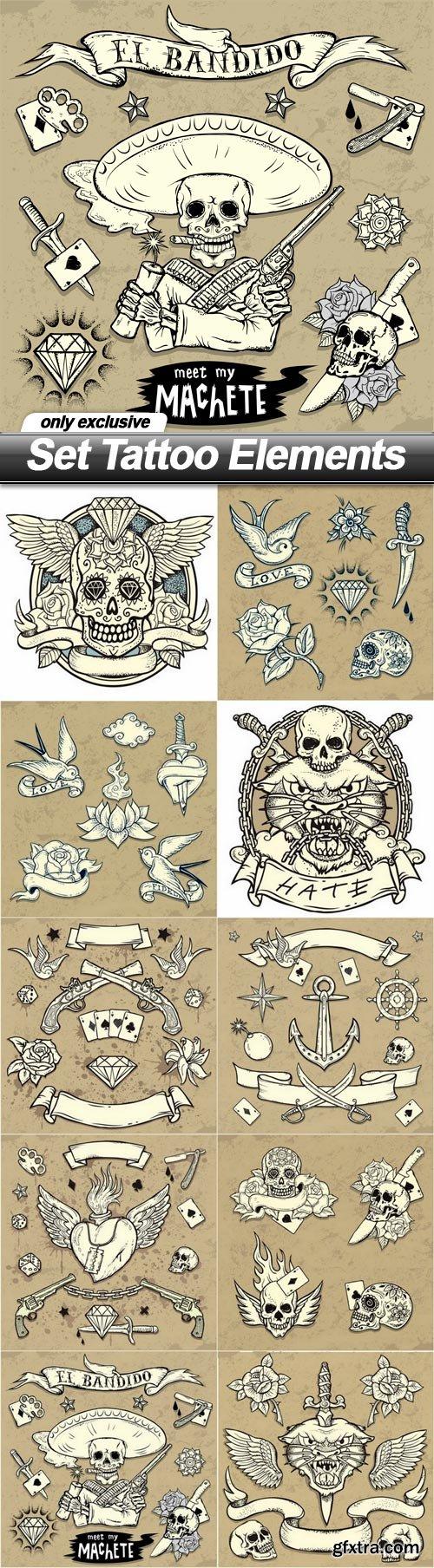 Set Tattoo Elements - 10 EPS