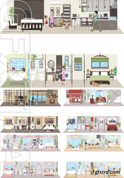 Stock Vectors - Living space  Family