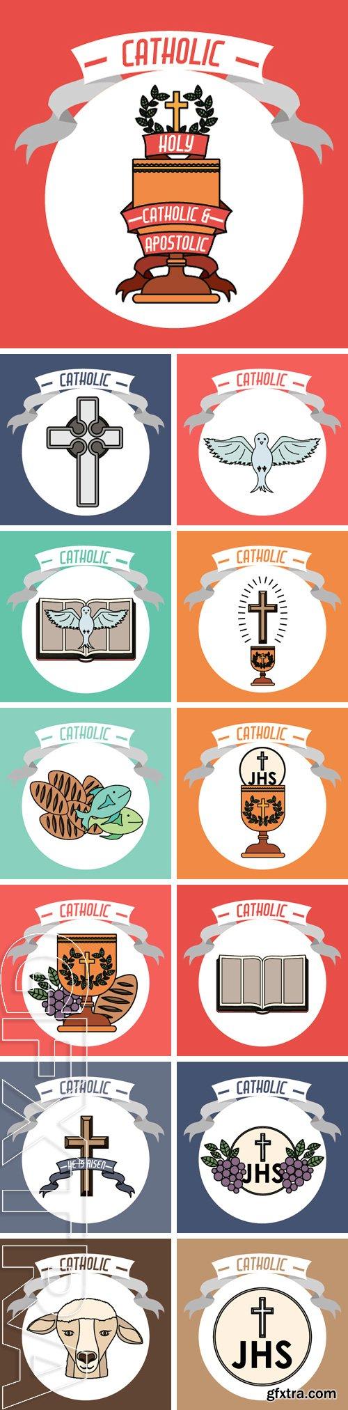 Stock Vectors - Catholic digital design, vector illustration