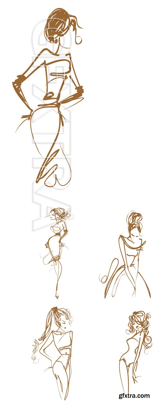 Stock Vectors - Graphic, sketch drawing. Sexy woman
