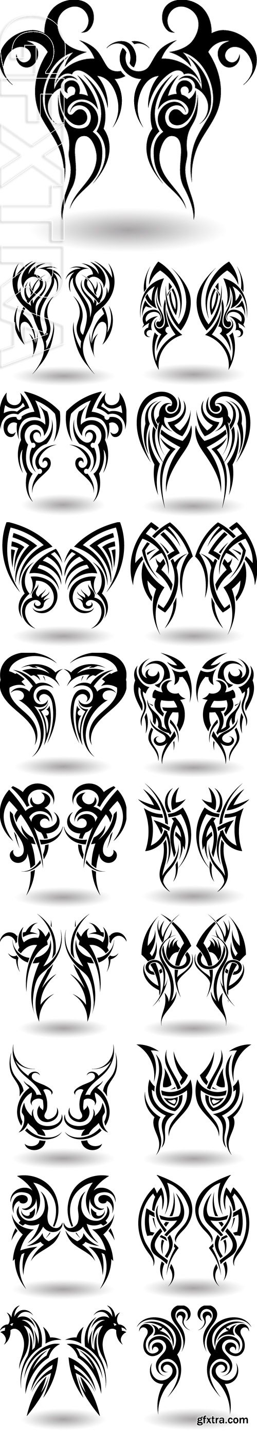 Stock Vectors - Hand Drawn Tribal Tattoo in Wings Shape