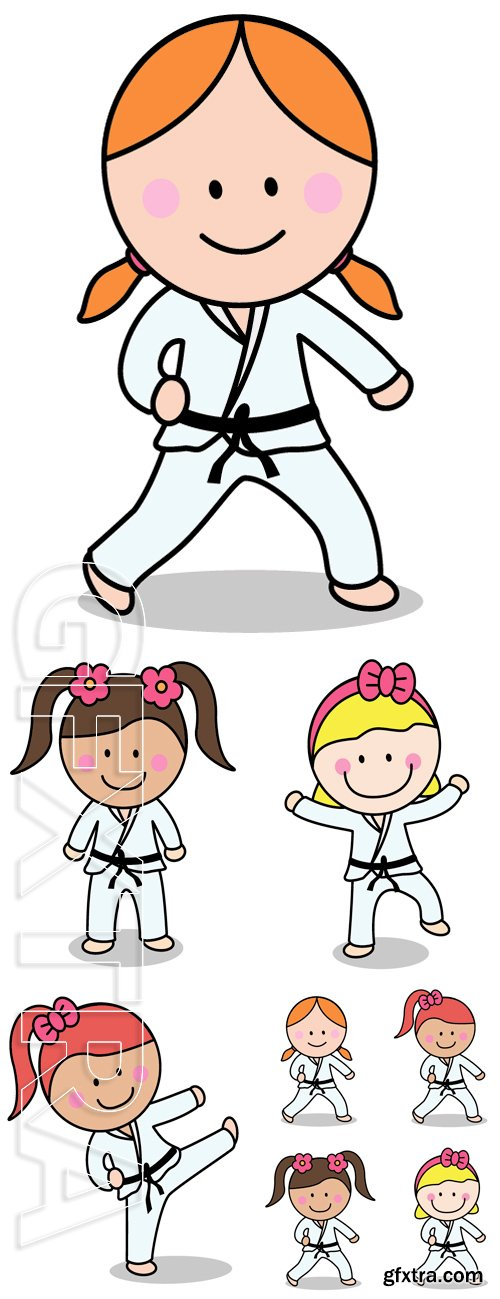 Stock Vectors - Karate girl. Vector Illustration