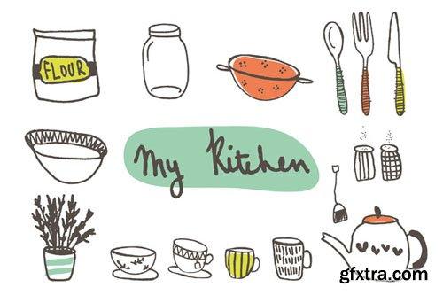 Hand Drawn Kitchen Clip Art - CM 27453