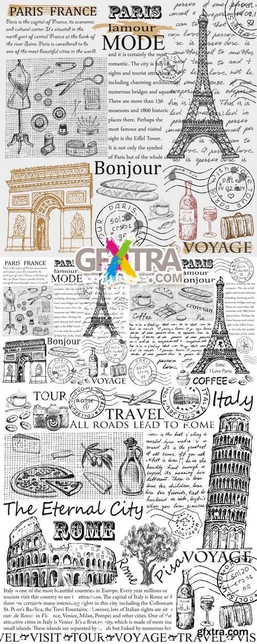 Paris & Rome Vector Sketches