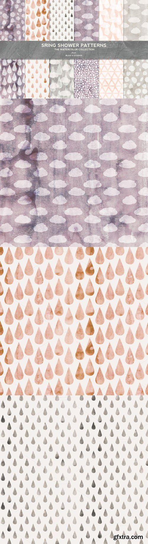 Spring Shower Watercolor Patterns - CM 238329